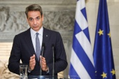 'So let's meet, let's talk and let's seek a mutually acceptable solution. Let's give diplomacy a chance,' said Greek Prime Minister Kyriakos Mitsotakis to Turkish President Recep Tayyip Erdogan [File: Costas Baltas/Reuters]