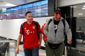 Bayern Munich fans arrive in Budapest ahead of the match against Spanish side Sevilla [Bernadett Szabo/Reuters]