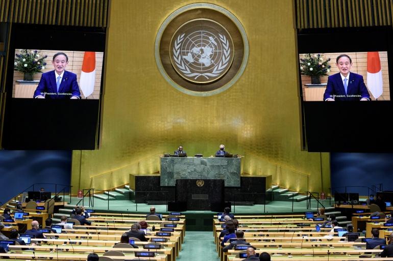 Yoshihide Suga, Perdana Menteri Jepang berbicara secara virtual selama Sidang Umum PBB tahunan ke-75, yang sebagian besar diadakan karena pandemi COVID-19 [United Nations / Handout via Reuters]