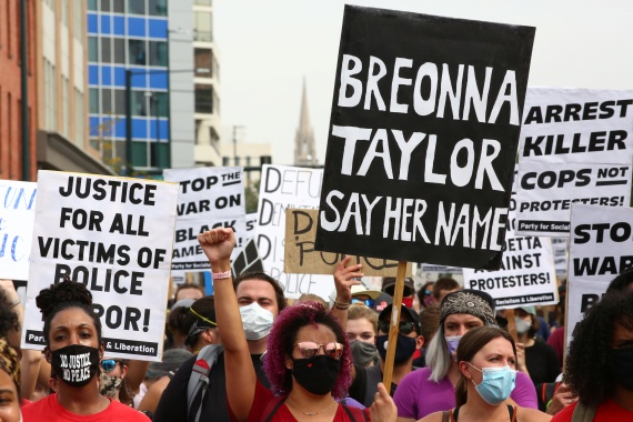 Protesters have taken to the streets in Louisville and around the country to demand accountability for Breonna Taylor's killing [Kevin Mohatt/Reuters]
