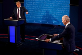 President Donald Trump and Democratic presidential nominee Joe Biden traded personal insults in the first 2020 presidential campaign debate held on the campus of the Cleveland Clinic at Case Western Reserve University in Cleveland, Ohio [Morry Gash/Pool via Reuters]
