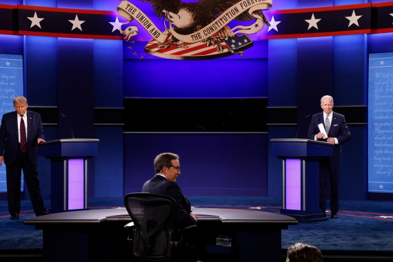 US President Donald Trump and Democratic squared off in the first of three scheduled 2020 presidential campaign debates [Jonathan Ernst/Reuters]