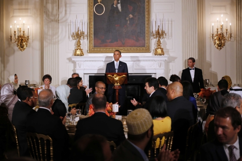 President Barack Obama speaks as he hosts an Iftar dinner during the Muslim holy month of Ramadan in the State Dining Room at the White House in Washington on July 14, 2014 [File: AP/Charles Dharapak]
