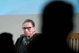 US Supreme Court Justice Ruth Bader Ginsburg was small in stature but had an outsized persona and remained vigorous into her 80s [Mary Altaffer/AP Photo]