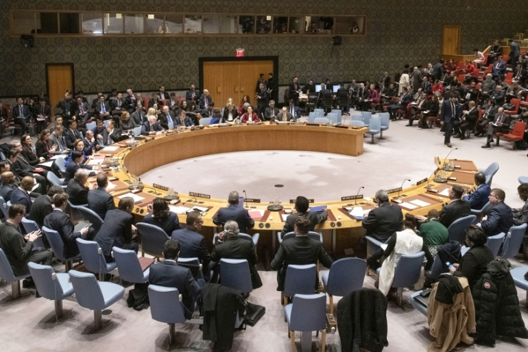 The acrimonious meeting of the Security Council took place virtually rather than in-person [File: Mark Garten/United Nations via AFP]