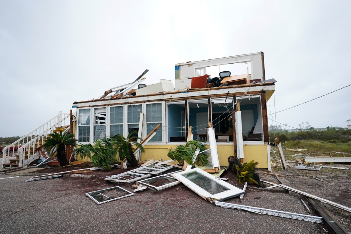 What is left of the business of Joe and Teresa Mirable after Hurricane Sally moved through the area in Perdido Key. [Gerald Herbert/AP Photo]