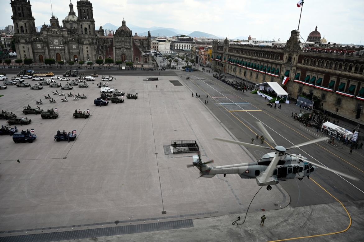 A general view during the military parade for the 210th anniversary of Independence Day in an empty Zocalo square in Mexico City. [Alfredo Astrella/AFP]