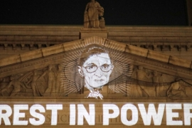 Associate Justice of the Supreme Court of the United States Ruth Bader Ginsburg is projected onto the New York State Civil Supreme Court building in Manhattan, New York City, US [Andrew Kelly/Reuters]