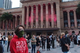 Protesters held three minutes of silence for the 441 Aboriginal people who have died in police custody since 1991 [Margarite Clarey/Al Jazeera]