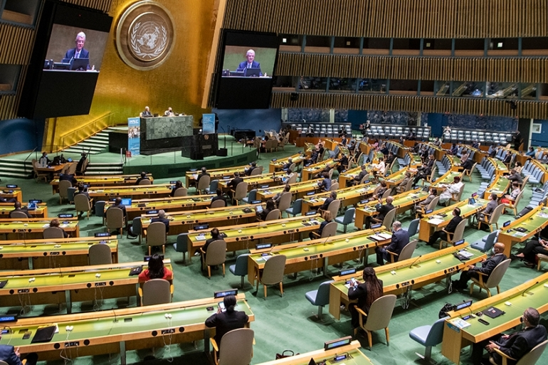 The annual United Nations meetings will be held virtually with those in the hall seated far apart because of the coronavirus pandemic [Eskinder Debebe/UN Photo via EPA]