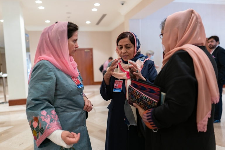 Members of the Afghan government delegation - (left to right) Fawzia Koofi, Sharifa Zurmati Wardak and Habiba Sarabi - after the opening of the historica intra-Afghan peace negotiations with the Taliban in Doha, Qatar, September 12, 2020 [Sorin Furcoi/Al Jazeera]