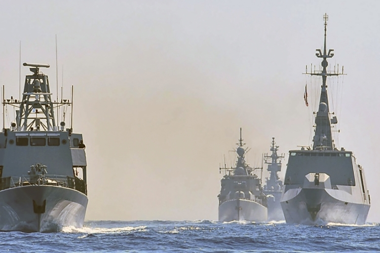 Worships from Greece, Italy, Cyprus and France participate in military exercises in the eastern Mediterranean Sea last month [Greek defence ministry via AP]