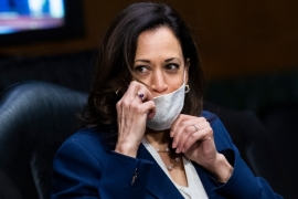 Harris has said she would not accept Donald Trump's word alone on the safety of a coronavirus vaccine [File: Tom Williams/AP]
