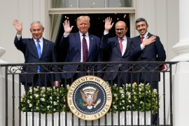 From left, Israeli Prime Minister Benjamin Netanyahu, President Donald Trump, Bahrain Foreign Minister Khalid bin Ahmed Al Khalifa and United Arab Emirates Foreign Minister Abdullah bin Zayed Al Nahyan at the White House, September 15, 2020, in Washington [AP Photo/Alex Brandon]