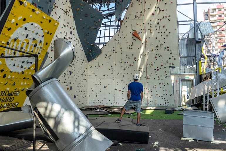 The Flyp climbing gym was destroyed along with much of Lebanon's capital on August 4 [George Emil/Al Jazeera]