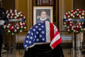 Justice Ruth Bader Ginsburg lies in state in Statuary Hall of the US Capitol in Washington, DC [Shawn Thew/Pool via AP]