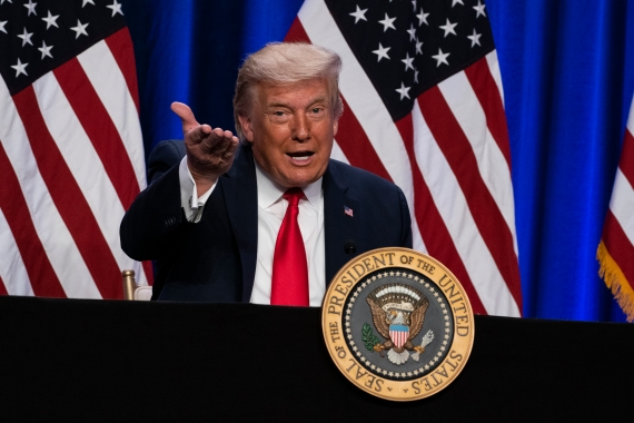 US President Donald Trump has tried to shift the focus ahead of the November 3 election away from how he has handled the COVID-19 pandemic [File: Evan Vucci/AP Photo]