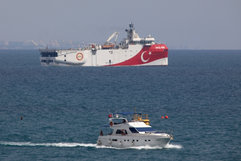 The Turkish research vessel Oruc Reis is currently at the heart of a dispute over the Eastern Mediterranean [File: Burhan Ozbilici/AP]