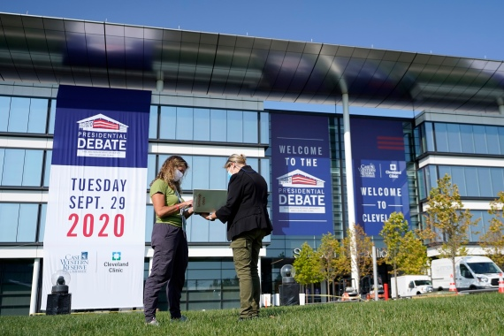 Americans are placing sports-book bets ahead of the first presidential debate between Republican President Donald Trump and Democratic candidate Joe Biden. [Julio Cortez/AP Photo]