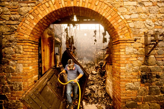 Cellar worker Jose Juan Perez extinguishes hotspots at Castello di Amorosa which was damaged in the Glass Fire. [Noah Berger/AP Photo]