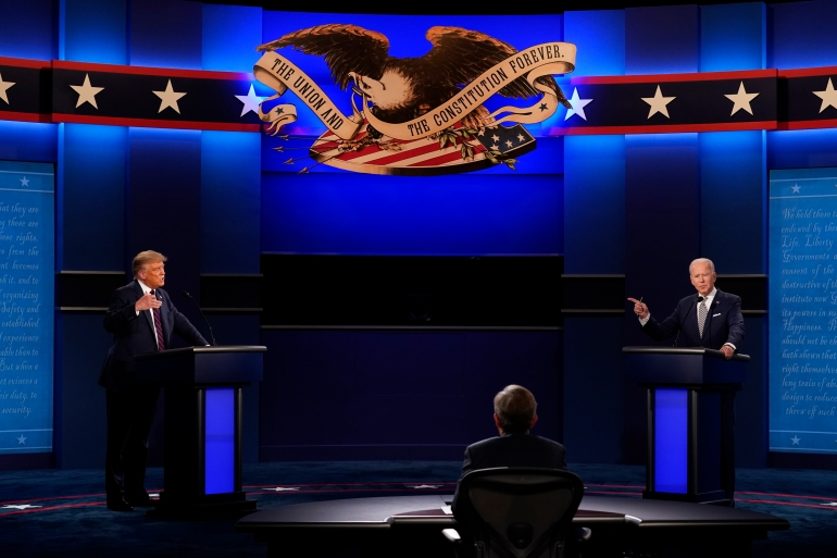 President Donald Trump and Democratic presidential candidate Joe Biden squared off in the first presidential debate on Tuesday [Patrick Semansky/The Associated Press]