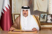 Qatar emir accused Israel of 'flagrant violation of international resolutions and the two state solution as agreed upon by the international community'. [Handout via Qatar News Agency]