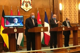 The foreign ministers of Egypt, France and Jordan speak at a news conference in Amman [Foreign Ministry of Egypt/Twitter]