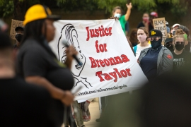 Community members gathered for a Stand 4 Breonna event to demand justice for Breonna Taylor on September 19, 2020 in Austin, Texas [Montinique Monroe/Getty Images]