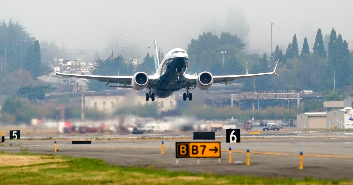 US aviation chief pilots test flight of revamped Boeing 737 MAX thumbnail