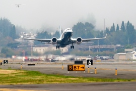 The 737 MAX jet, piloted by FAA chief Steve Dickson, takes off on a test flight from Boeing Field, in Seattle, Washington after being grounded in March 2019 when two fatal accidents killed a total of 346 people [Elaine Thompson/AP Photo]