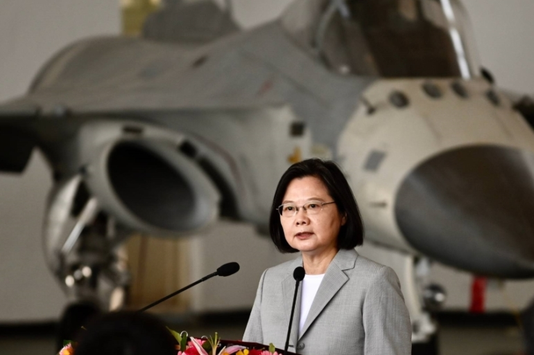 Taiwanese President Tsai Ing-wen praised on Tuesday the 'heroic performance' of air force pilots who have been intercepting Chinese jets that approach the island [Sam Yeh/AFP]