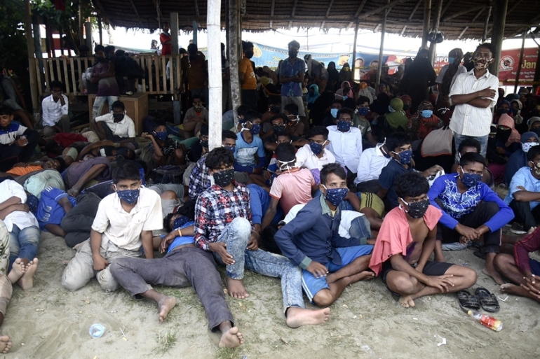 Rohingya who came ashore in near Lhokseumawe in the Indonesian province of Aceh on Monday morning [Rahmat Mirza/AFP]