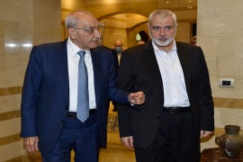 Lebanese Parliament Speaker Nabih Berri, left, receives Hamas chief Ismail Haniyeh at the Ain el-Tineh Palace in Beirut, Lebanon on Wednesday [AFP]