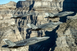 A formation of US Air Force F-35 jets perform aerial manoeuvres during combat exercise in Utah [File: Handout via Reuters]