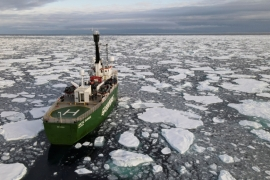 Greenpeace's Arctic Sunrise ship navigates through floating ice in the Arctic Ocean, on September 15, 2020 [Natalie Thomas/ Reuters]