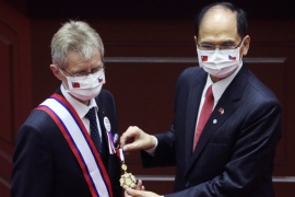 Czech Senate President Milos Vystrcil receives a medal before delivering a speech at the main chamber of the Legislative Yuan in Taipei, Taiwan [Ann Wang/ Reuters]
