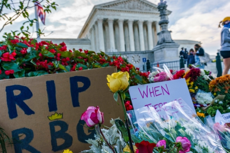 The death of Justice Ruth Bader Ginsburg is expected to bring social issues such as abortion to greater prominence in the election [J Scott Applewhite/The Associated Press]