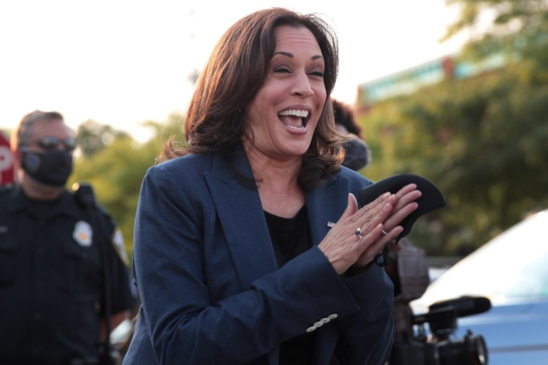 Democratic Vice Presidential Nominee Kamala Harris greets supporters after attending a round-table event with Black business owners on September 7, 2020 in Milwaukee, Wisconsin, US [Scott Olson/AFP]