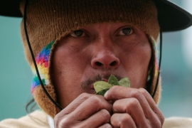 An Indigenous man holds coca leaves during a ceremony that marks the last day of the Pachamama (mother earth) month in La Paz, Bolivia, August 31, 2020. REUTERS/David Mercado [Reuters]