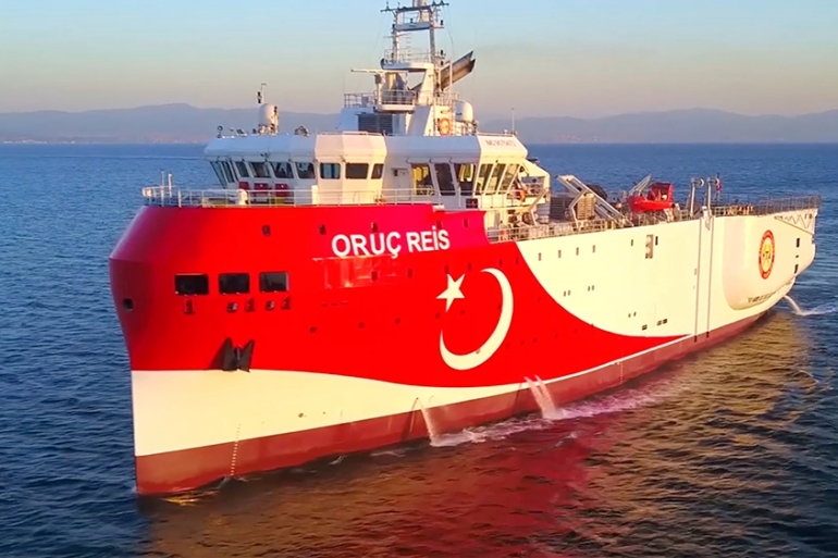 The Oruc Reis research vessel was previously scheduled to end its work on Thursday [File: Handout via AP]