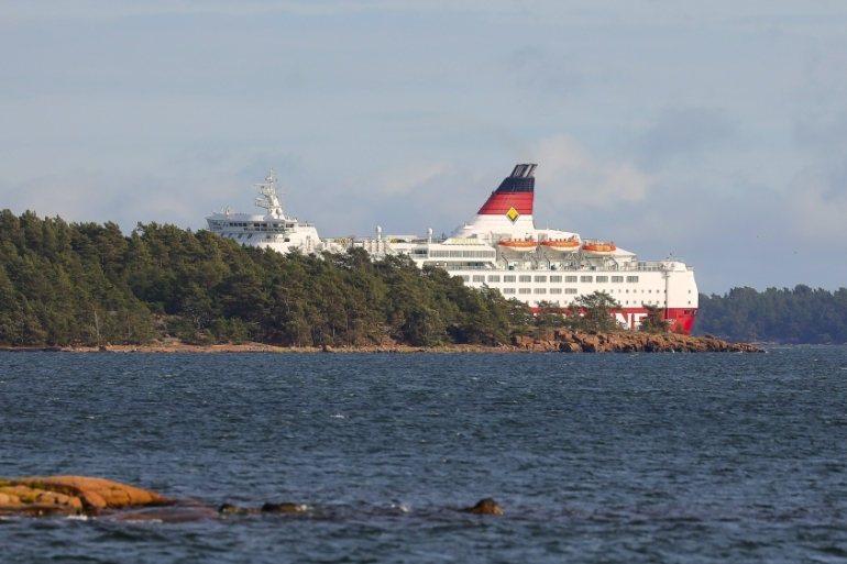 MS Amorella is seen at the Aland Islands after it ran aground [Lehtikuva/Niclas Nordlund via Reuters]