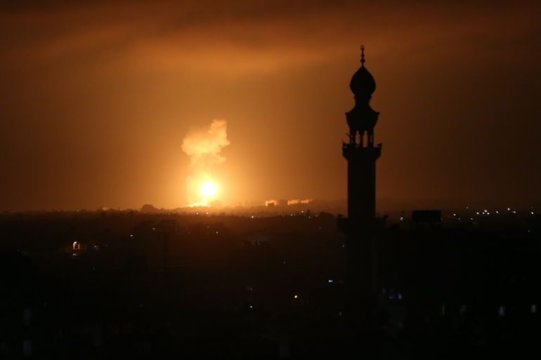 Explosion illuminates the night sky after Israeli warplanes hit several targets on August 16, 2020 in Khan Yunis, Gaza. [Abed Rahim Khatib/Anadolu]