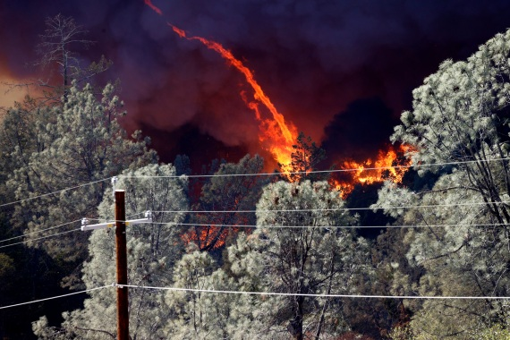 The Glass Fire burns outside the town of Deer Park in Napa County. [John G Mabanglo/EPA]