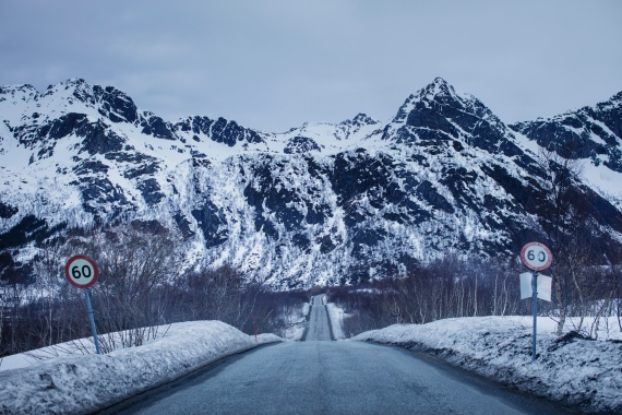 A snowy road in Lofoten, Norway; Kyrre Lien and Per Christian Selmer-Anderssen drove more than 8,000km on their journey through Europe [Kyrre Lien/Al Jazeera]