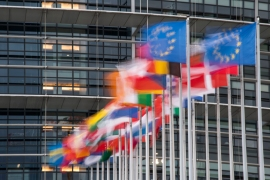 Union European members' flags fly in front of the European Parliament in Strasbourg, eastern France, on October 6 [Sebastien Bozon/AFP]