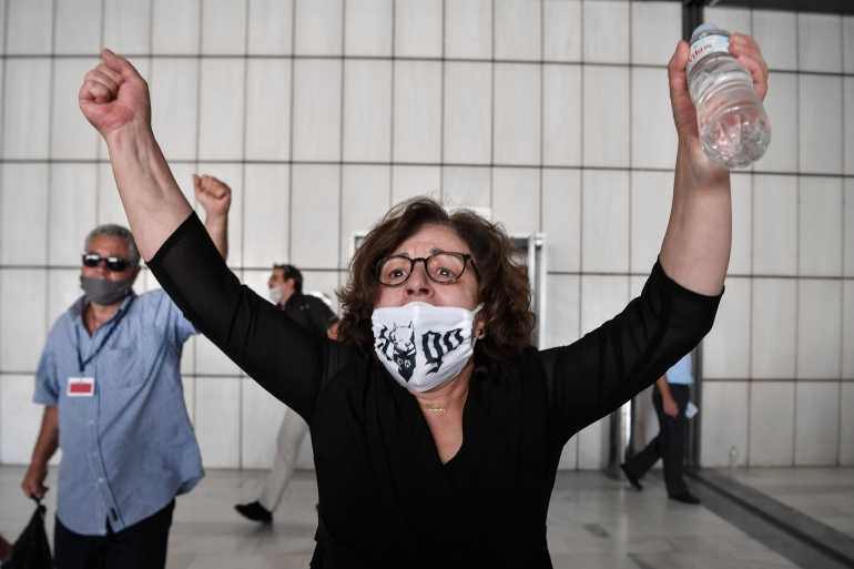 Magda Fyssas, the late Greek rapper Pavlos Fyssas's mother, pictured on Wednesday [Louisa Gouliamaki/AFP]