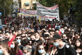 The judgement came amid a background of clashes between police and demonstrators who gathered following a call from the anti-fascist movement, trade unions and parties on the left, on the sidelines of a large protest of some 15,000 people. [Sakis Mitrolidis/AFP]