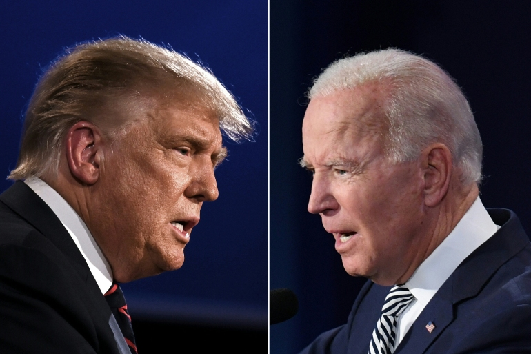 Donald Trump and Joe Biden squared off in a September 29 debate, Trump has since contracted COVID-19 [Jim Watson, Saul Loeb/AFP]