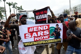 The hashtag #EndSARS has been trending not just in Nigeria but across the world for several days [Pius Utomi Ekpei/AFP]