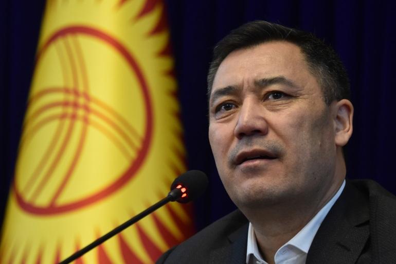 Kyrgyz acting prime minister Sadyr Japarov holds a press conference at the Ala-Archa state residence in Bishkek on October 10, 2020 [Vyacheslav Oseledko/AFP]